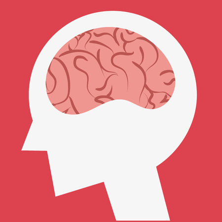 Brain icon ,head silhouette Иллюстрация