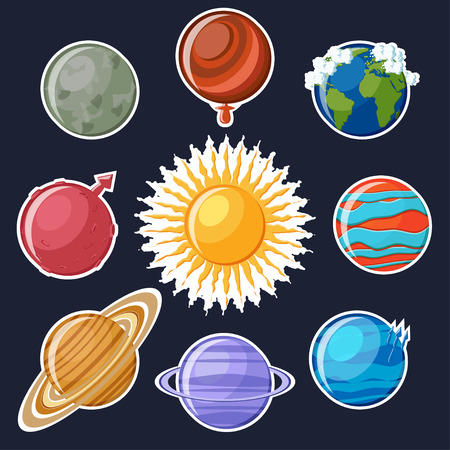 Solar system sticker set. Cute cartoon planets Mercury, Venus, Earth, Mars, Jupiter, Saturn, Uranus, Neptune and sun stickers for kids. Astronomy education set of stickers. Vector Illustration.