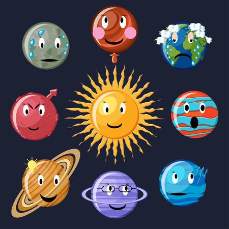 neptune: Solar system emoticon set. Cute cartoon planets Mercury, Venus, Earth, Mars, Jupiter, Saturn, Uranus, Neptune and sun. Astronomy emoticons. Planets emoji. Planets smiley. Vector Illustration.