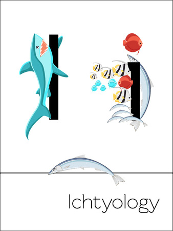 Flash card letter I is for Ichtyology. Science alphabet for kids. Puzzle ABC flash cards series. Cartoon vector illustration in flat style. Illustration