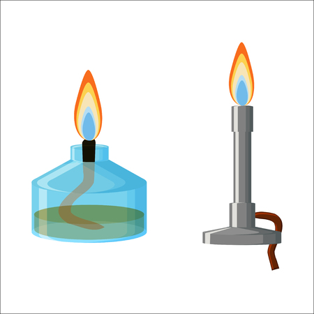 blue flame: Alcohol spirit burner and Bunsen burner