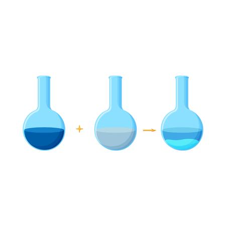 Diagrama del experimento químico que muestra la reacción entre dos compuestos solubles con una formación de precipitado.
