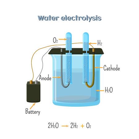 水の電気分解の図。  イラスト・ベクター素材