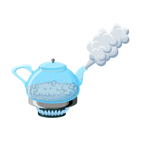 Transparent glass kettle with boiling water and steam on gas stove top isolated on white background. Cartoon vector illustration in flat style.