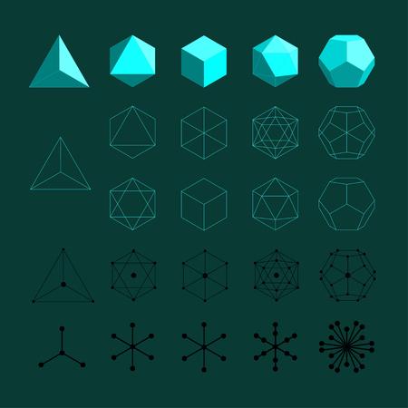 Solidi platonici. Tetraedro, Octahedro, Cube, Icosaedro e Octahedro. Vettoriali