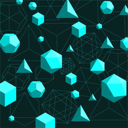 Platonic solids abstract background Illustration
