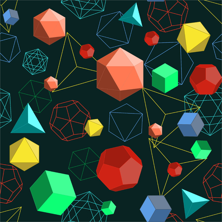 Platonic solids shapes and lines abstract 3d geometrical seamless pattern.