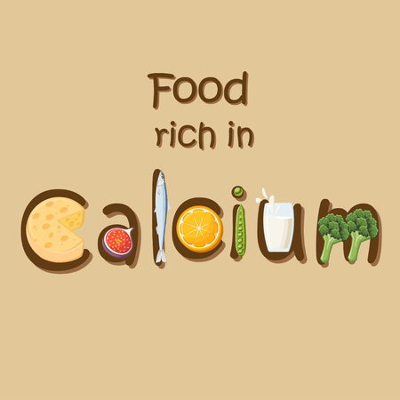 Food rich in mineral Calcium. Illustration