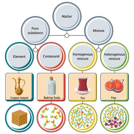 Pure substances and mixtures diagram. Illustration