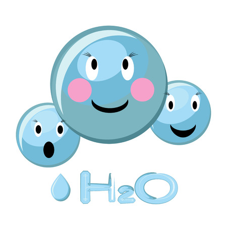 Cartoon illustration of water molecule and water formula H2O. Illustration