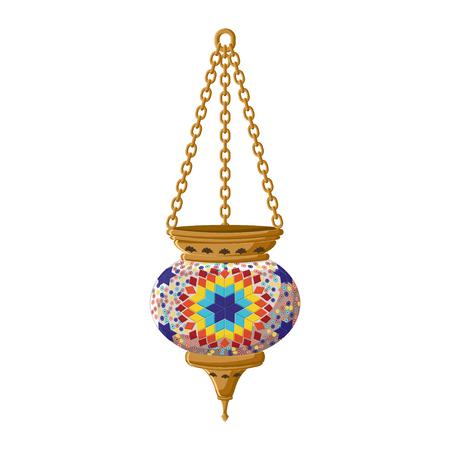 Turkish traditional ceramic lantern isolated on white background