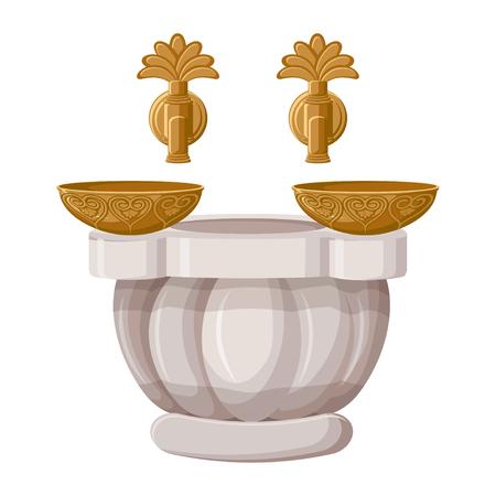 Bain turc, hamam avec bols en cuivre isolé sur fond blanc.