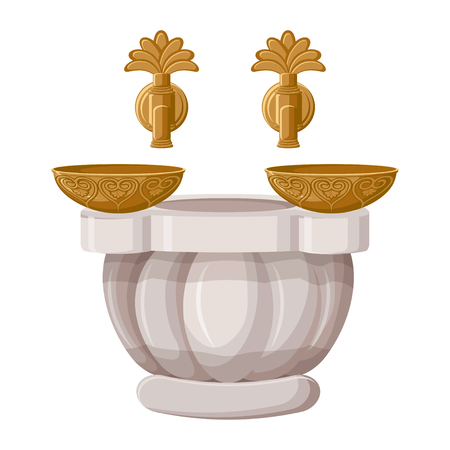 Turkish bath, hamam with copper bowls isolated on white background. Illustration