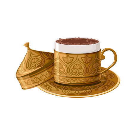 Turkish traditional decorated copper coffee cup isolated on white background.