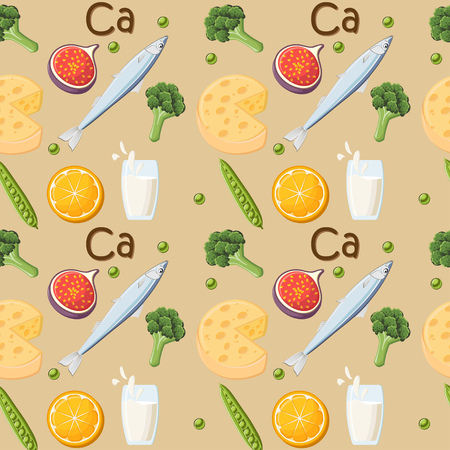 Food rich in Calcium seamless pattern.