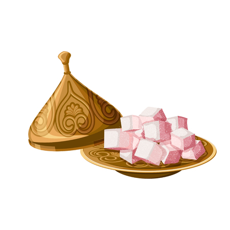 Turkish delight, locum, traditional sweets on decorated copper plate with cap isolated on white background. Vectores