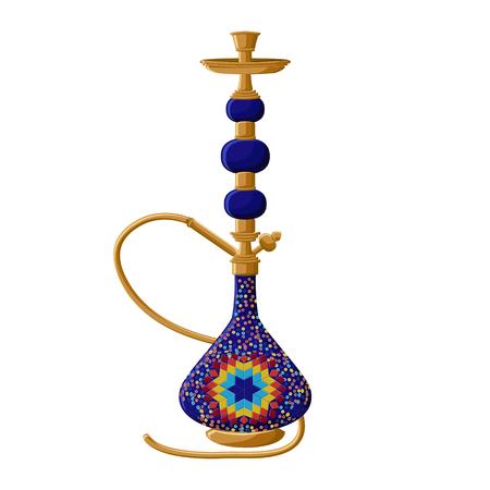 Traditional turkish ceramic blue hookah isolated on white background.