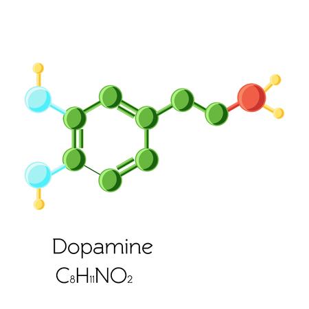 Chemical molecular formula hormone dopamine.