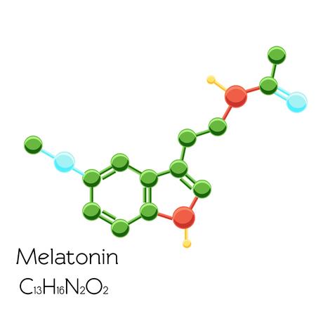 De structurele chemische die formule van het melatoninehormoon op witte achtergrond wordt geïsoleerd.