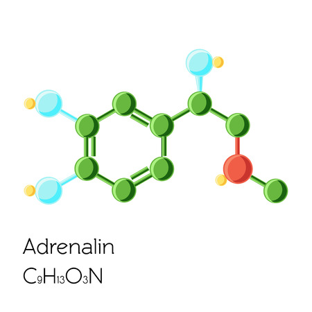 Adrenalin, Adrenaline, Epinephrine hormone structural chemical formula isolated on white background. Illustration