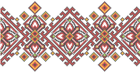 Geometrisches Muster der ukrainischen ethnischen Artkreuzstich-Stickerei. Standard-Bild - 89598707