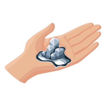 Gallium, das von der Handwärme lokalisiert auf weißem Hintergrund schmilzt.