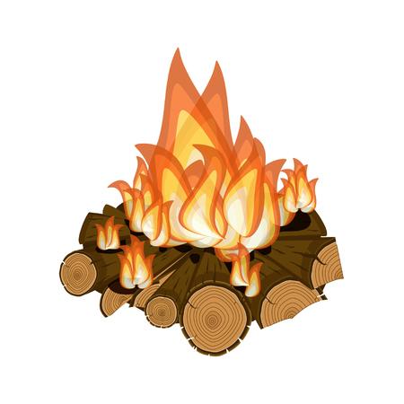 Wood burning, bright campfire isolated on white background.