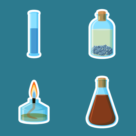 Chemical equipment. Cylinder with liquid, bottle with metal under oil, alcohol burner ,flask with liquid.