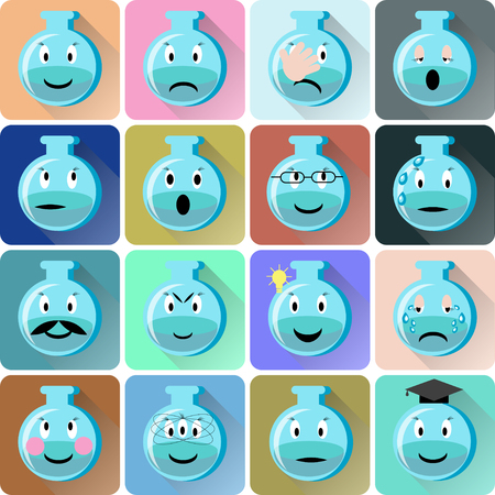 Flask emoticons icons set. Illustration