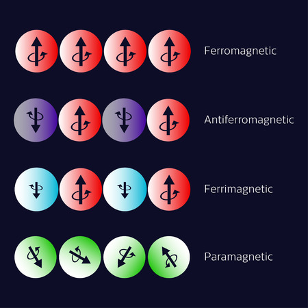 Types of magnetism diagram. Ferromagnetism, Antiferromagnetism, Ferrimagnetism, Paramagnetism. Vector illustration.