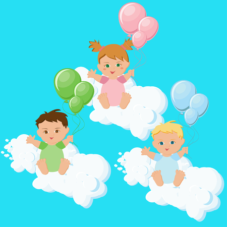 Two boys and a girl sitting on clouds with colorful balloons. Illustration