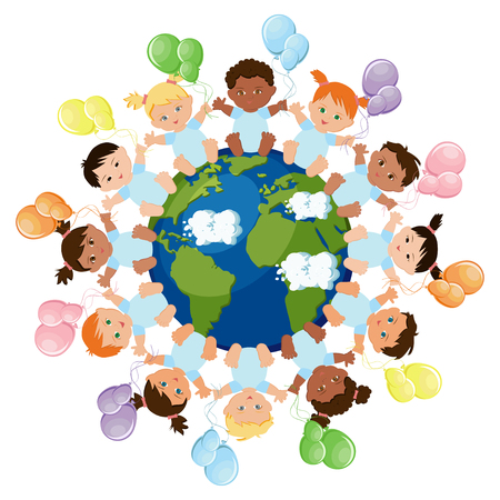 Multicultural group of babies sitting around the planet earth and holding colorful balloons. Multiethnical diversity, equality concept. Vector illustration in flat style.