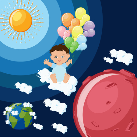 Baby boy dreams to fly to Mars on clouds and balloons.