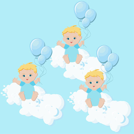 Baby boys triplets sitting in clouds with balloons illustration.