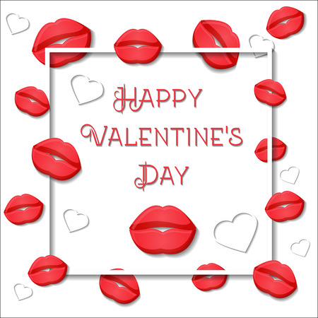 Happy Valentines day greeting card template with red lips, white hearts, square frame and text on white background. Cartoon style vector illustration.