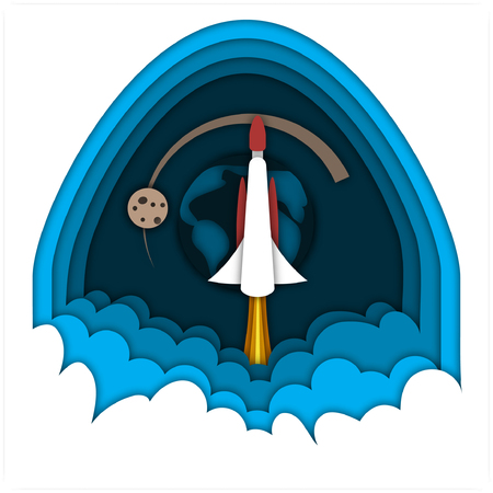 Launching rocket, flying in the space against the planet Earth and Moon on dark blue sky background.