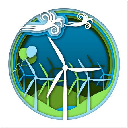 Concepto de energía eólica con aerogeneradores turbinas y globos sobre fondo verde y azul del paisaje. Tipos de energía, parte 5. Ciencia para niños. Ilustración de vector de estilo de corte de papel.