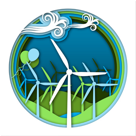 Wind energy concept with wind generator turbines and ballooons on green and blue landscape background. Kinds of energy, part 5. Science for kids. Paper cut style vector illustration. Illustration