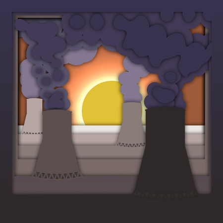Nuclear energy concept with power plant with smoke and sunset.