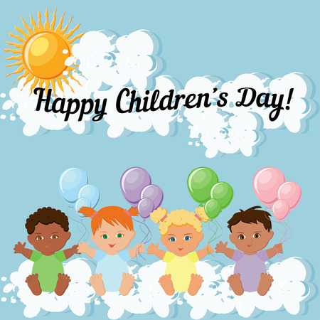 Happy Children Day greeting card template with kids sitting on clouds and holding colorful balloons, and text.