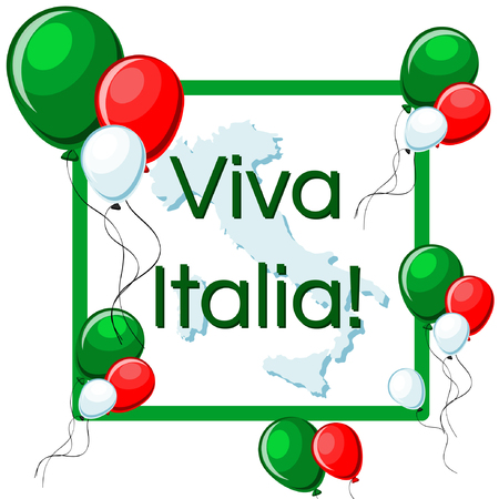 Viva Italia greeting card with green, red and white balloons, frame, Italy map, and text.