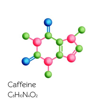 白い背景に分離カフェイン構造化学式.