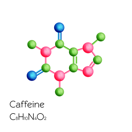 Caffeine structural chemical formula isolated on white background.