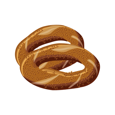 Turkish traditional delicious and aromatic bagel simit. Cartoon vector illustration in flat style. Ilustração