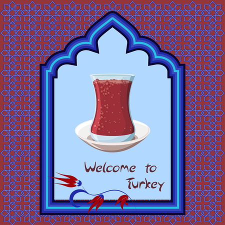 Welcome to Turkey greeting card template with traditional turkish tea glass in arch window on decorated blue and red background. Cartoon style vector illustration.
