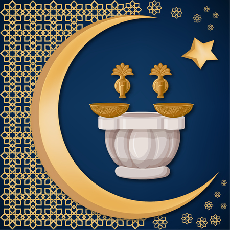 Turkish bath, hamam with copper bowls with oriental decoration, moon, and star on dark blue background. Travel Turkey greeting card template. Cartoon vector illustration in flat style. Illustration