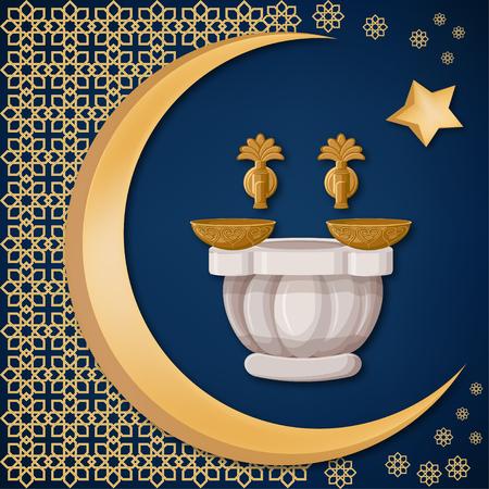 Bain turc, hammam avec bols en cuivre à décor oriental, lune et étoile sur fond bleu foncé. Modèle de carte de voeux de voyage Turquie. Illustration vectorielle de dessin animé dans un style plat.