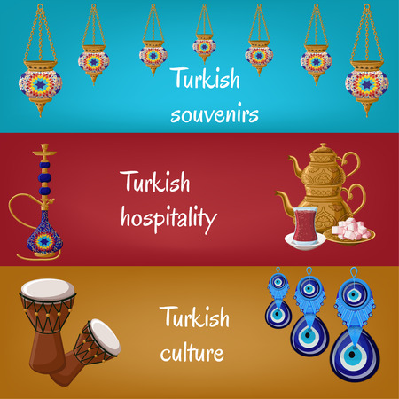 Turkish touristic banners with traditional lanterns, hookah, teapot, tea glass, locum, drums and boncuck. Turkish souvenirs, hospitality, culture. Travel to Turkey concept. Cartoon vector illustration
