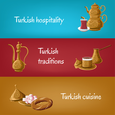 Turkish touristic banners with brass utensils double teapot, tea glass, locum, pitcher, coffee, simit. Turkish hospitality, traditions,cuisine. Travel to Turkey concept. Cartoon vector illustration Vettoriali