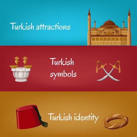 Bannières touristiques turques avec symboles traditionnels fez, simit, épées, hammam, Hagia Sophia. Attractions turques, symboles, identité. Voyage au concept de Turquie, partie 2. Illustration vectorielle de dessin animé